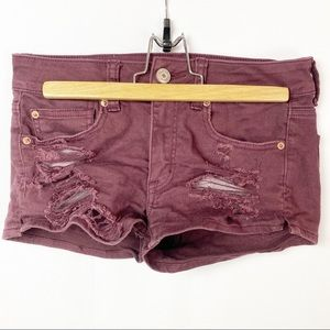 American Eagle Shortie Shorts Maroon Distressed